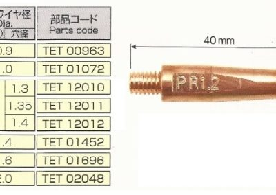 TET01072 – Panasonic R Type Contact Welding Tip 40mm Length – 1.0mm Diameter Wire